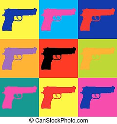 Gun sign. Pop-art style icons set