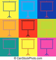 Blank Projection screen. Pop-art style colorful icons set.