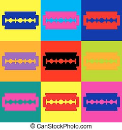 Razor blade sign Pop-art style colorful icons set