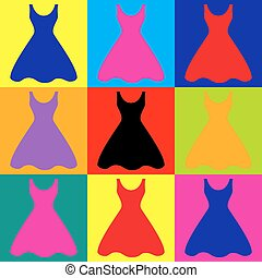 Woman dress sign. Pop-art style colorful icons set.