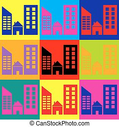 Real estate sign. Pop-art style colorful icons set.