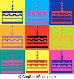 Birthday cake sign Pop-art style colorful icons set