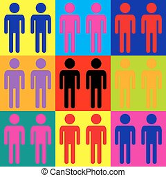 Gay family sign Pop-art style colorful icons set