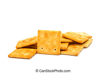 salty crackers isolated