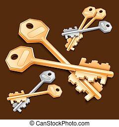 Set of keys on brown background.