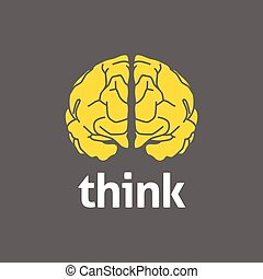 Brain Logo - Graphic illustration of a brain and think text,...