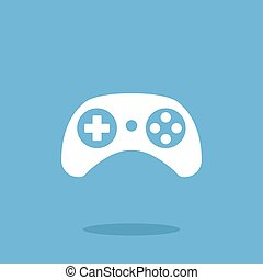 Vector gamepad icon White game controller graphic design web...