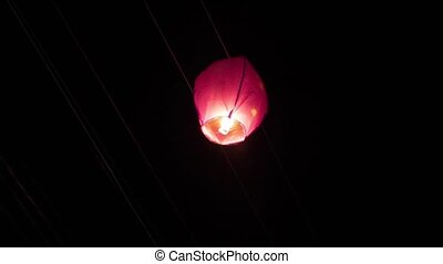 Sky lanterns hit the power wires - wrong launch into the air...