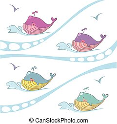 Vector set of colored whales on the waves.
