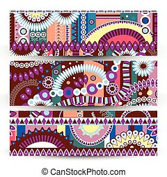 set of banner Abstract  tribal ethnic background,color  vector