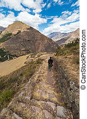 Exploring Inca Trails and ruins of Pisac, Peru - Tourist...
