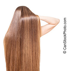 Well-groomed, shiny, long hair flowing back girl isolated -...