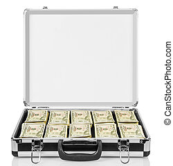 Open suitcase with dollars isolated on white. - Open...
