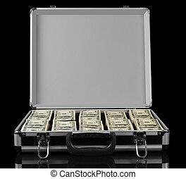 Opened suitcase with dollars isolated on black background. -...