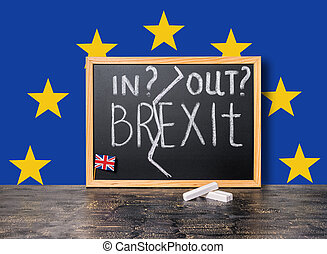 Brexit UK EU referendum concept cut Great Britain apart from rest of European union with flags and handwriting text in, out is written in chalkboard