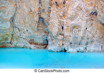 natural underground karst mineral lake Proval with pure blue...