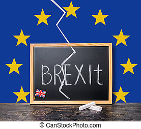 Brexit UK EU referendum concept cut Great Britain apart from rest of European union with flags and handwriting text written in chalkboard, close up