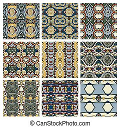 set of different seamless colored vintage geometric pattern,...