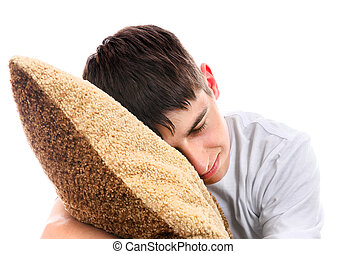 Teenager sleep with Cushion - Teenager sleeps with Cushion...
