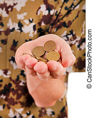 Coins in the Hand - Russian Coins in the Hand closeup