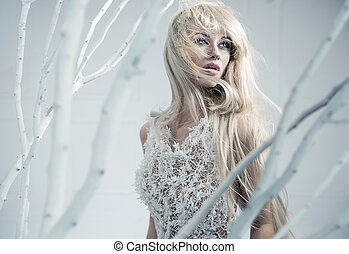 Snow lady among white branches - Snow queen among white...