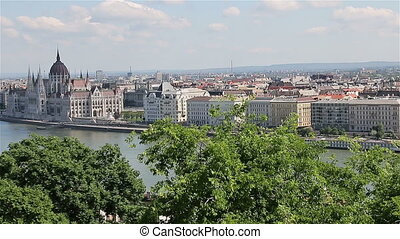 Panorama of Budapest with the Danube and the Parliament...