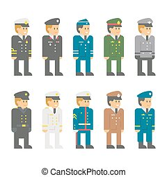 Flat design soldier uniform set
