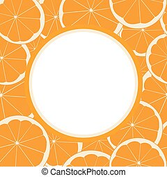round frame with seamless pattern of orange fruit