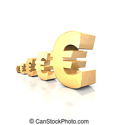 Euro Yield - 3d illustration looks euro symbols at the white...