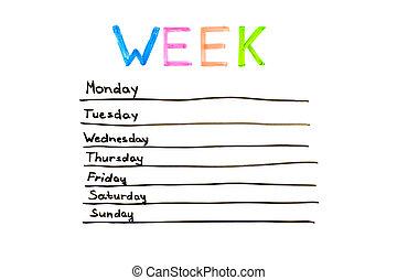 jours, de, les, semaine,
