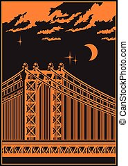 bridge at night - stylized vector illustration of a large...