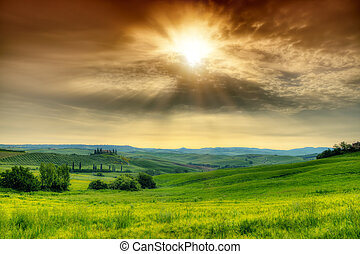 Beautiful Tuscany landscape in sunrise