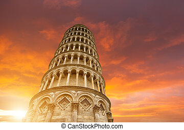 Leaning tower and the cathedral baptistery, Italy - Leaning...