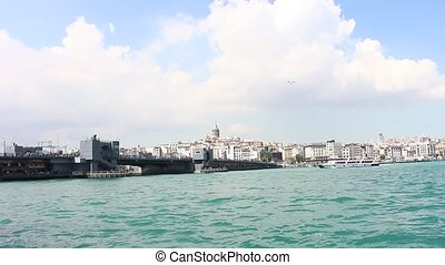 View of Halic bridge, Karaoke and Galata tower from Eminonu...