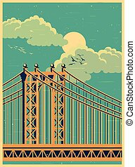 large bridge old poster - Stylized vector illustration of a...