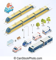 Isometric City. Urban Elements. Isometric Bus. Isometric Train. City Transportation. Vector illustration