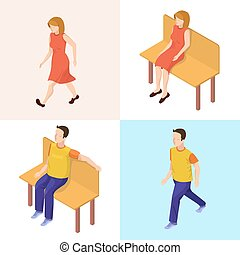 Isometric People. Walking Woman and Man. Woman and Man Sitting on the Bench. Vector illustration