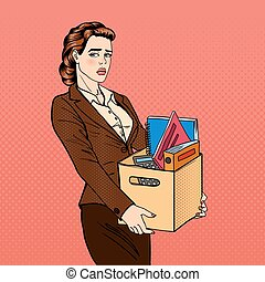 Fired Woman. Disappointed Businesswoman. Fired Office Worker Holding Box with Belongings. Pop Art. Vector illustration