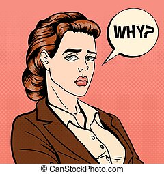 Disappointed Businesswoman. Comic Bubble with Expression. Pop Art. Vector illustration