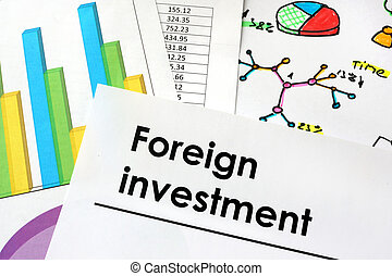 Foreign investment sign written on a paper
