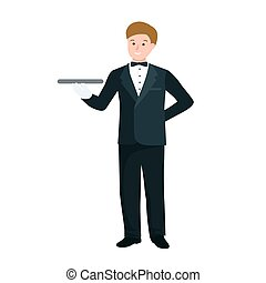 Worker waiter at restaurant isolated. man with tray vector illustration