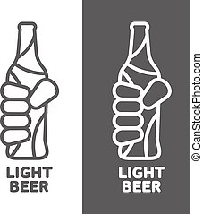 Set beer logos, simple gray labels - hand holding a bottle...