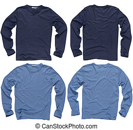 Blank blue long sleeve shirts - Photograph of two wrinkled...