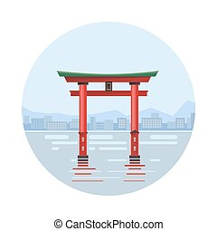 Japan at the floating gate icon isolated on white...