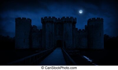 Large Castle With Moat In Moonlight