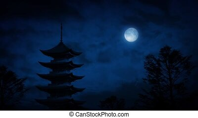 Pagoda At Night Under A Full Moon - Tall Japanese pagoda at...