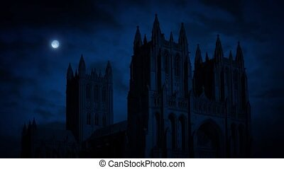 Cathedral At Night With Moon - Huge Gothic cathedral in the...