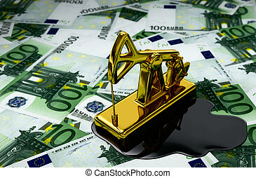 Golden Pumpjack And Spilled Oil Over Euros 3D Illustration