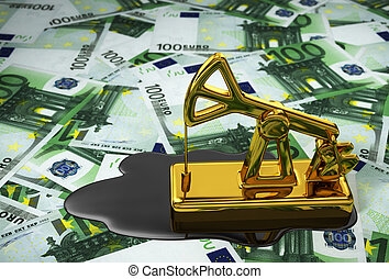 Pumpjack And Spilled Oil Over Euros 3D Illustration
