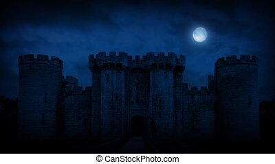 Large Medieval Castle At Night - Full moon in the sky above...